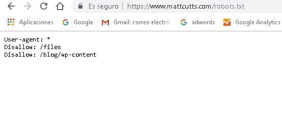 ejemplo de archivo robots.txt